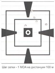 Стрельба с оптикой (мишень отстрела для этого патрона без оптики отсутствует, т.к. попадания вышли за ее пределы)